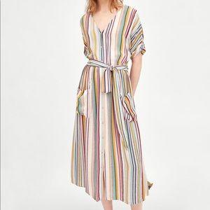 Zara TRF Collection Striped Midi Dress XS